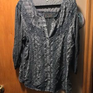 Women's Button Down Shirt w/crocheted yolk size 1X
